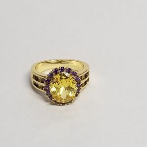 Fashion  Purple Crystal Ring Gold-plated sz 7~NEW